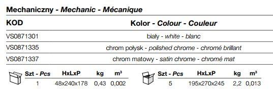 Przycisk spłukujący WC P1 Tropea S, Winner S, Cubik S VALSIR vs0871335 Chrom Połysk