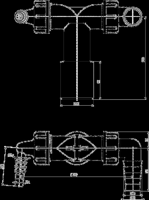 Podwójne kolano pralki zmywarki z zaworem zwrotnym AlcaPLAST P156Z
