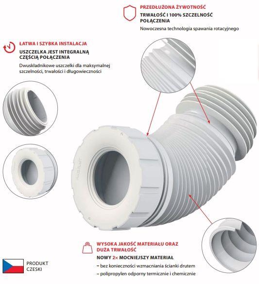 Przyłącze kanalizacyjne elastyczne do WC A97SN AlcaPLAST rura harmonijka