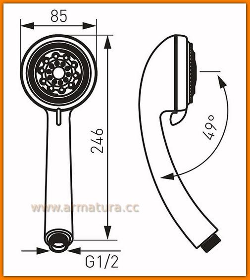 Rączka natrysku S868 FERRO Limone 3-funkcyjna słuchawka prysznicowa