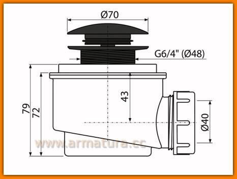 Syfon brodzikowy KLIK-KLAK NISKI Ø50 mm Czarny A465BLACK-50 AlcaPLAST click/clack